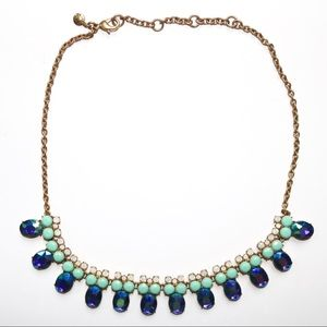 J. Crew Gold Blue Turquoise Crystal Necklace